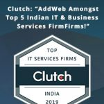 Clutch Comprises AddWeb Amongst the Top 5 Highest Performing Indian IT & Business Services Firm 2019