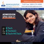 Btech Admission 2020 Available At MU for Expert Academic and Practical Skills!